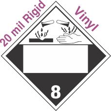 Blank Window Corrosive Class 8 20mil Rigid Vinyl Placard