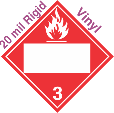 Blank Window Flammable Class 3 20mil Rigid Vinyl Placard