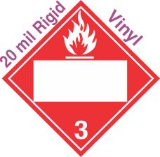 Blank Window Flammable Class 3 20mil Rigid Vinyl Placard