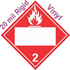 Blank Window Flammable Gas Class 2.2 20mil Rigid Vinyl Placard