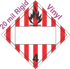 Blank Window Flammable Solid Class 4.1 20mil Rigid Vinyl Placard