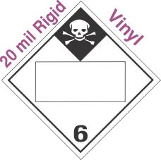 Blank Window Inhalation Hazard Class 6.1 20mil Rigid Vinyl Placard