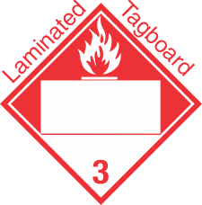 Blank Window Combustible Class 3 Laminated Tagboard Placard