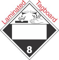 Blank Window Corrosive Class 8 Laminated Tagboard Placard