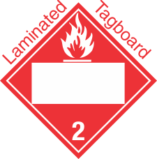 Blank Window Flammable Gas Class 2.2 Laminated Tagboard Placard