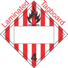 Blank Window Flammable Solid Class 4.1 Laminated Tagboard Placard