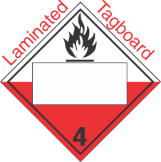 Blank Window Spontaneously Combustible Class 4.2 Laminated Tagboard Placard