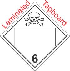 Blank Window Toxic Class 6.2 Laminated Tagboard Placard