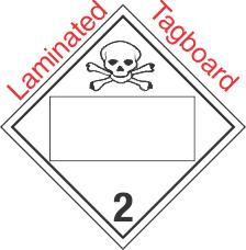 Blank Window Toxic Gas Class 2.3 Laminated Tagboard Placard
