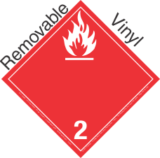 International (Wordless) Flammable Gas Class 2.2 Removable Vinyl Placard