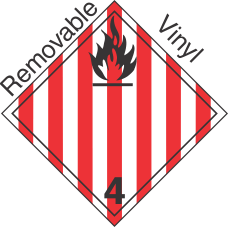 International (Wordless) Flammable Solid Class 4.1 Removable Vinyl Placard