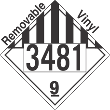 Miscellaneous Dangerous Goods Class 9 UN3481 Removable Vinyl DOT Placard