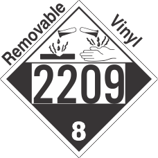 Corrosive Class 8 UN2209 Removable Vinyl DOT Placard