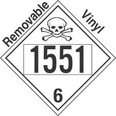 Poison Toxic Class 6.1 UN1551 Removable Vinyl DOT Placard