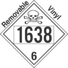 Poison Toxic Class 6.1 UN1638 Removable Vinyl DOT Placard