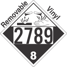 Corrosive Class 8 UN2789 Removable Vinyl DOT Placard