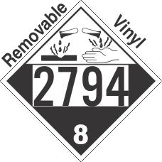 Corrosive Class 8 UN2794 Removable Vinyl DOT Placard