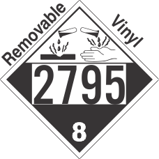 Corrosive Class 8 UN2795 Removable Vinyl DOT Placard