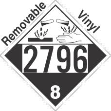 Corrosive Class 8 UN2796 Removable Vinyl DOT Placard