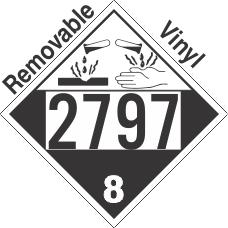 Corrosive Class 8 UN2797 Removable Vinyl DOT Placard