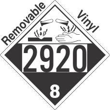 Corrosive Class 8 UN2920 Removable Vinyl DOT Placard