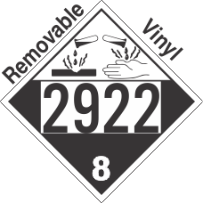 Corrosive Class 8 UN2922 Removable Vinyl DOT Placard