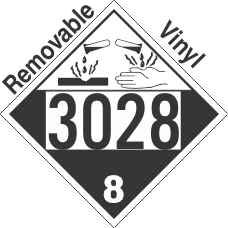 Corrosive Class 8 UN3028 Removable Vinyl DOT Placard