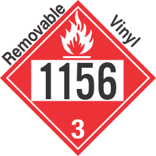 Flammable Class 3 UN1156 Removable Vinyl DOT Placard
