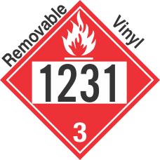 Flammable Class 3 UN1231 Removable Vinyl DOT Placard