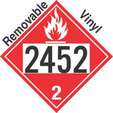 Flammable Gas Class 2.1 UN2452 Removable Vinyl DOT Placard