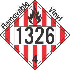 Flammable Solid Class 4.1 UN1326 Removable Vinyl DOT Placard