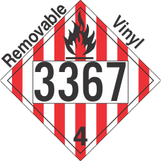Flammable Solid Class 4.1 UN3367 Removable Vinyl DOT Placard