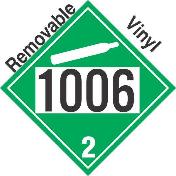 Non Flammable Gas Class 2 2 Un1006 Removable Vinyl Dot Placard