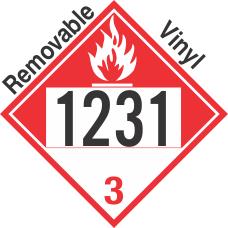 Combustible Class 3 UN1231 Removable Vinyl DOT Placard
