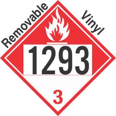 Combustible Class 3 UN1293 Removable Vinyl DOT Placard