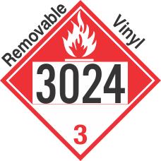 Combustible Class 3 UN3024 Removable Vinyl DOT Placard