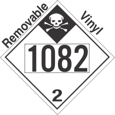 Inhalation Hazard Class 2.3 UN1082 Removable Vinyl DOT Placard