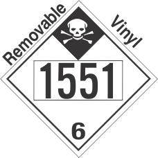 Inhalation Hazard Class 6.1 UN1551 Removable Vinyl DOT Placard