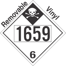 Inhalation Hazard Class 6.1 UN1659 Removable Vinyl DOT Placard