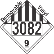Miscellaneous Dangerous Goods Class 9 UN3082 Removable Vinyl DOT Placard