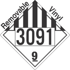 Miscellaneous Dangerous Goods Class 9 UN3091 Removable Vinyl DOT Placard