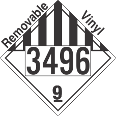 Miscellaneous Dangerous Goods Class 9 UN3496 Removable Vinyl DOT Placard