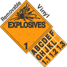 Explosive Class 1.1 1.2 1.3 Tabbed Removable Vinyl DOT Placard