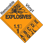 Explosive Class 1.1 Tabbed Removable Vinyl DOT Placard