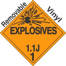 Explosive Class 1.1J Removable Vinyl DOT Placard