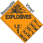 Explosive Class 1.2 Tabbed Removable Vinyl DOT Placard
