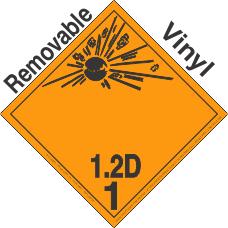 Explosive Class 1.2D Wordless Removable Vinyl DOT Placard