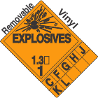 Explosive Class 1.3 Tabbed Removable Vinyl DOT Placard