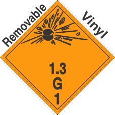 Explosive Class 1.3G Wordless Removable Vinyl DOT Placard