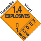 Explosive Class 1.4 Tabbed Removable Vinyl DOT Placard